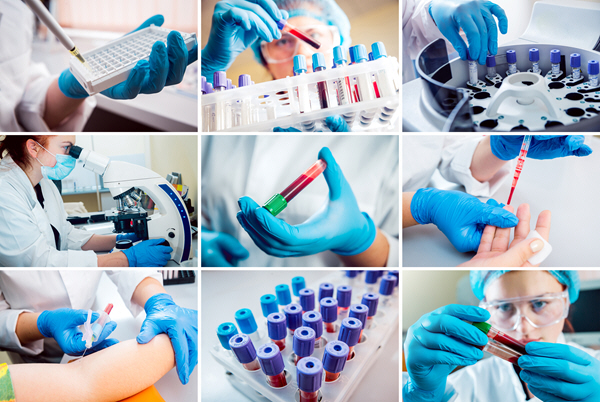 multiple shots of blood analysis